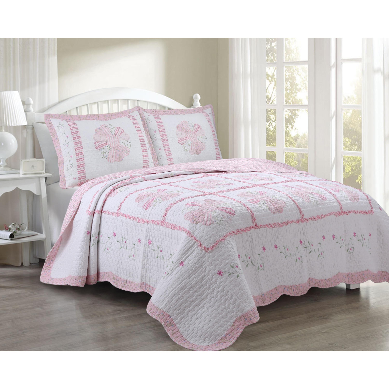 Coverlet Bedspread Daisy Field 100/%Cotton Quilt Set