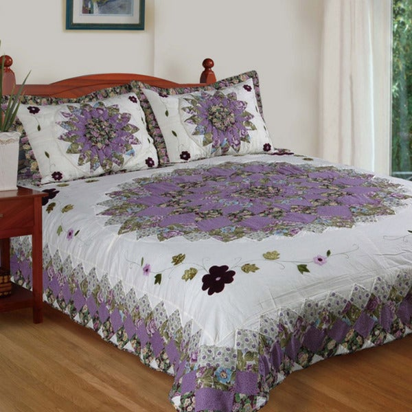 Pansy Field King-size 3-piece Quilt Set