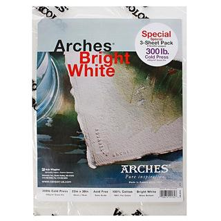 Arches 22-inch x 30-inch Bright White Watercolor Paper (3 Sheets)