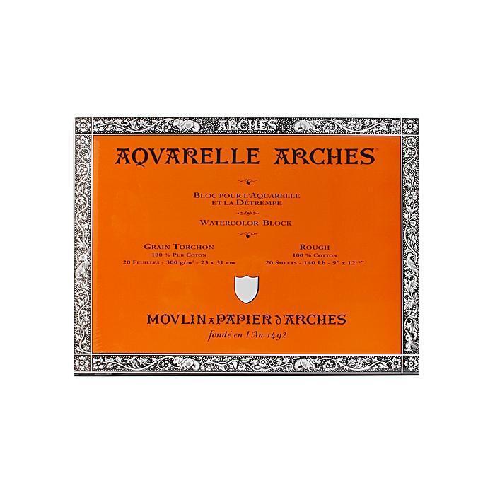 Arches 9-inch x 12-inch Rough Watercolor Block, Orange (P...