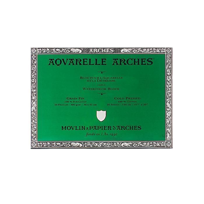Arches 14-inch x 20-inch Cold Press Watercolor Block, Gre...