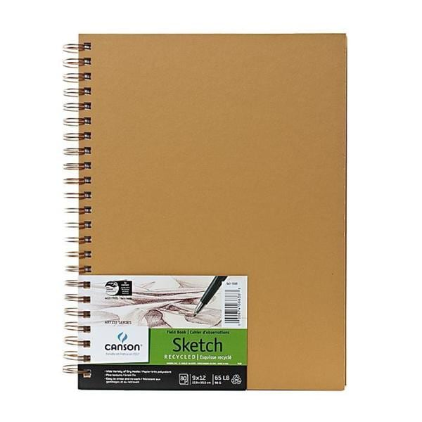 Canson 9-inch x 12-inch Wire-bound Brown Recycled Field Sketch Book