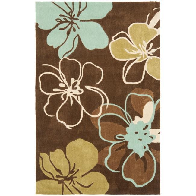 Safavieh Handmade Modern Art Floral Gardens Brown/ Multicolored Polyester Rug (8' x 10')