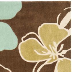Safavieh Handmade Modern Art Floral Gardens Brown/ Multicolored Polyester Rug (8' x 10') - Thumbnail 1