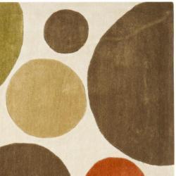 Safavieh Handmade Modern Art Bubbles Ivory/ Multicolored Polyester Rug (7' Square)