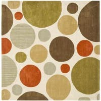 Safavieh Handmade Modern Art Bubbles Ivory/ Multicolored Polyester Rug - 7' x 7' Square
