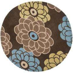 Safavieh Handmade Modern Art Daisies Brown/ Multicolored Polyester Rug (7' Round)