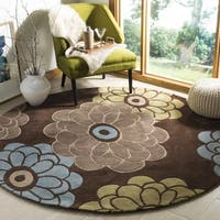 Safavieh Handmade Modern Art Daisies Brown/ Multicolored Polyester Rug - 7' x 7'