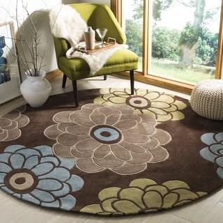 Safavieh Handmade Modern Art Daisies Brown/ Multicolored Polyester Rug (7' Round)