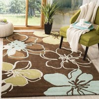 Safavieh Handmade Modern Art Floral Gardens Brown/ Multicolored Polyester Rug - 5' x 8'
