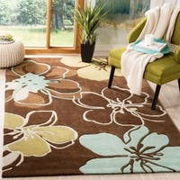 Safavieh Handmade Modern Art Floral Gardens Brown/ Multicolored Polyester Rug - 7' x 7' Square