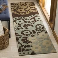 "Safavieh Handmade Modern Art Ornamental Terra Brown/ Multicolored Polyester Rug - 2'3"" x 8'"