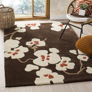 Safavieh Handmade Modern Art Floral Bliss Brown/ Multicolored Polyester Rug (5' x 8')