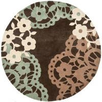 Safavieh Handmade Modern Art Ornamental Terra Brown/ Multicolored Polyester Rug - 7' x 7' Round