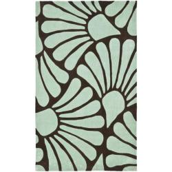 Safavieh Handmade Modern Art Tranquil Floral Brown/ Blue Polyester Rug (4' x 6')