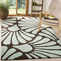 Safavieh Handmade Modern Art Tranquil Floral Brown/ Blue Polyester Rug - 5' x 8'