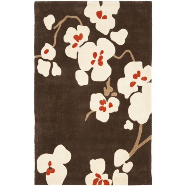 Safavieh Handmade Modern Art Floral Bliss Brown/ Multicolored Polyester Rug (4' x 6')