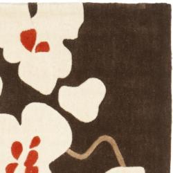 Safavieh Handmade Modern Art Floral Bliss Brown/ Multicolored Polyester Rug (8' x 10') - Thumbnail 1