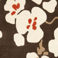 Safavieh Handmade Modern Art Floral Bliss Brown/ Multicolored Polyester Rug (8' x 10') - Thumbnail 2