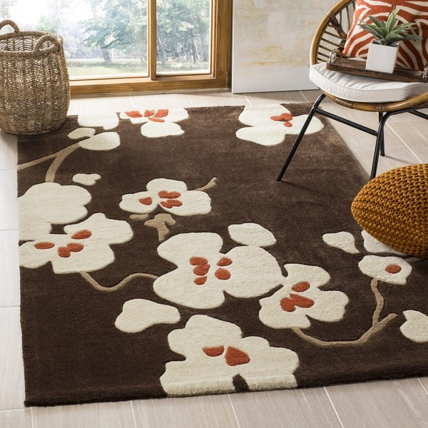 Safavieh Handmade Modern Art Floral Bliss Brown/ Multicolored Polyester Rug - 8' x 10'