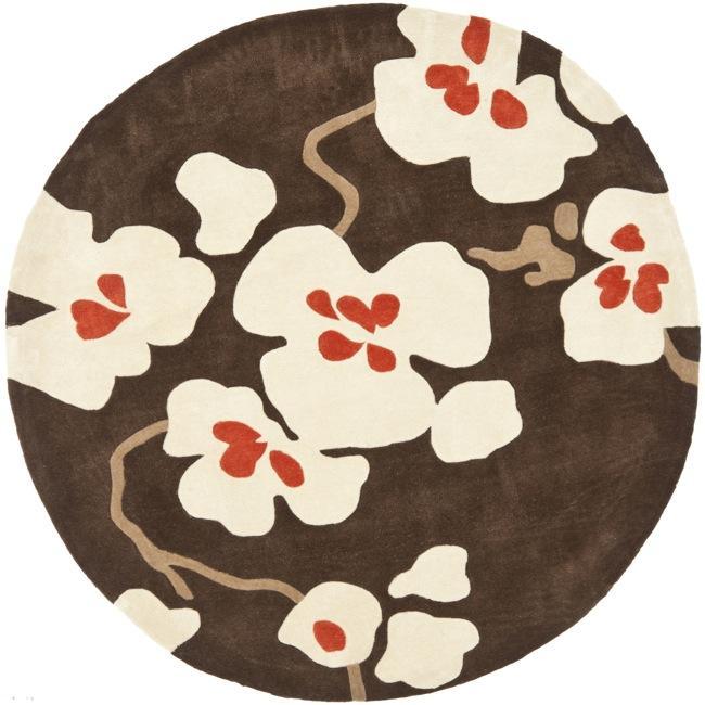 Safavieh Handmade Modern Art Floral Bliss Brown/ Multicolored Polyester Rug (7' Round)