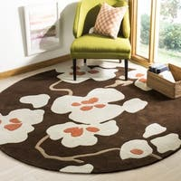 Safavieh Handmade Modern Art Floral Bliss Brown/ Multicolored Polyester Rug - 7' x 7' Round