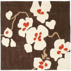 Safavieh Handmade Modern Art Floral Bliss Brown/ Multicolored Polyester Rug (7' Square)