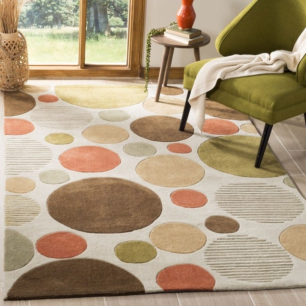 Safavieh Handmade Modern Art Bubbles Ivory/ Multicolored Polyester Rug - 8' x 10'