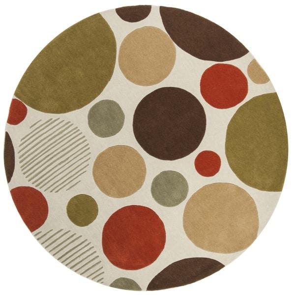 Safavieh Handmade Modern Art Bubbles Ivory/ Multicolored Polyester Rug (7' Round)