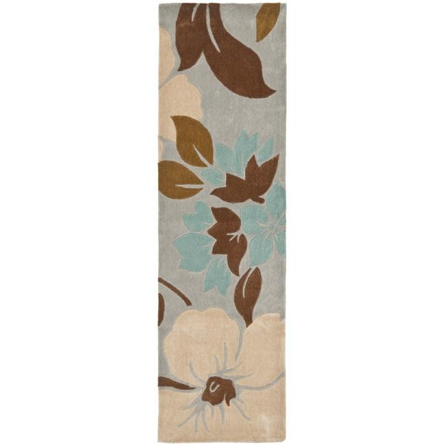 Safavieh Handmade Modern Art Graceful Floral Ivory/ Multicolored Polyester Rug (2'3 x 8')