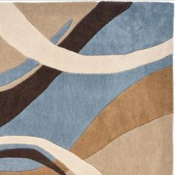 Safavieh Handmade Modern Art Abstract Waves Blue/ Brown Polyester Rug (4' x 6') - Thumbnail 1