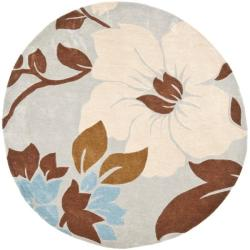 Safavieh Handmade Modern Art Graceful Floral Ivory/ Multicolored Polyester Rug (7' Round)