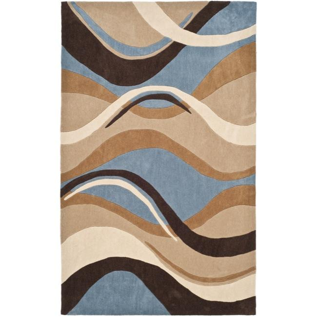 Safavieh Handmade Modern Art Abstract Waves Blue/ Brown Polyester Rug (5' x 8') - Thumbnail 0