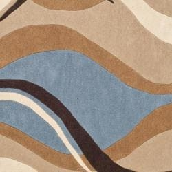 Safavieh Handmade Modern Art Abstract Waves Blue/ Brown Polyester Rug (8' x 10') - Thumbnail 2