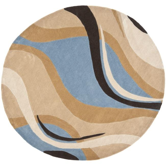 Safavieh Handmade Modern Art Abstract Waves Blue Brown