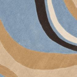 Safavieh Handmade Modern Art Abstract Waves Blue/ Brown Polyester Rug (7' Round)