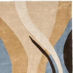 Safavieh Handmade Modern Art Abstract Waves Blue/ Brown Polyester Rug (7' Square) - Thumbnail 1