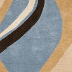 Safavieh Handmade Modern Art Abstract Waves Blue/ Brown Polyester Rug (7' Square) - Thumbnail 2