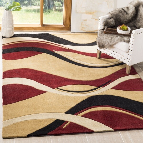 Safavieh Handmade Modern Art Abstract Waves Rust/ Ivory Polyester Rug - 8' x 10'