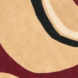 Safavieh Handmade Modern Art Abstract Waves Rust/ Ivory Polyester Rug (7' Round)