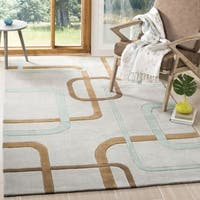Safavieh Handmade Modern Art Deco Grey/ Multicolored Polyester Rug - 4' x 6'