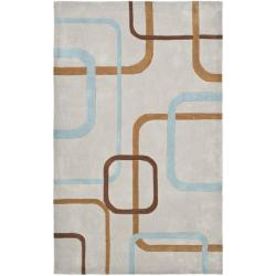 Safavieh Handmade Modern Art Deco Grey/ Multicolored Polyester Rug (8' x 10')