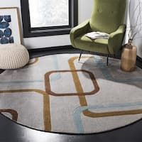 Safavieh Handmade Modern Art Deco Grey/ Multicolored Polyester Rug - 7' x 7' Round