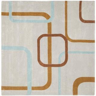 Safavieh Handmade Modern Art Deco Grey/ Multicolored Polyester Rug (7' Square)