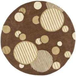 Safavieh Handmade Modern Art Galaxy Brown/ Multicolored Polyester Rug (7' Round)