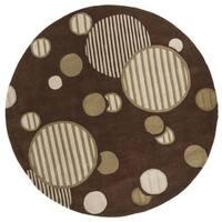 Safavieh Handmade Modern Art Galaxy Brown/ Multicolored Polyester Rug - 7' x 7' Round
