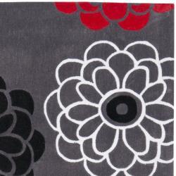 Safavieh Handmade Modern Art Daisies Dark Grey/ Multicolored Polyester Rug (8' x 10')