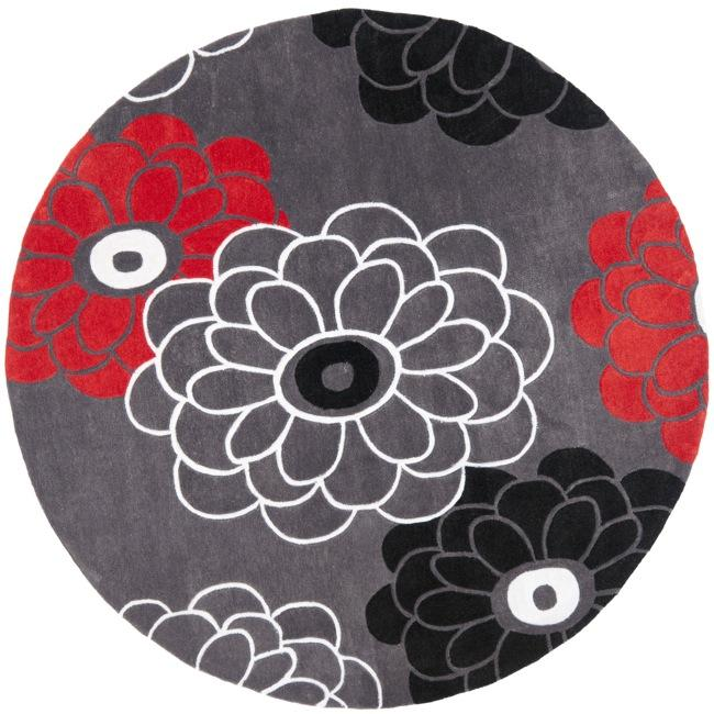 Safavieh Handmade Modern Art Daisies Dark Grey/ Multicolored Polyester Rug (7' Round)