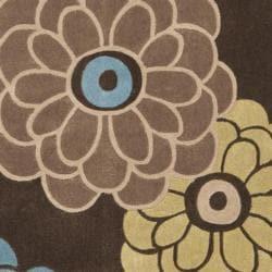 Safavieh Handmade Modern Art Daisies Brown/ Multicolored Polyester Rug (4' x 6')