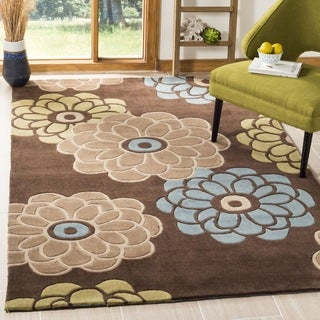 Safavieh Handmade Modern Art Daisies Brown/ Multicolored Polyester Rug (4' x 6')